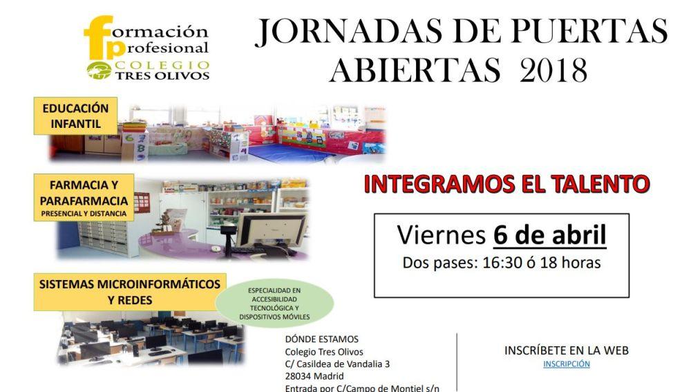 Jornada puertas abiertas FP en el Colegio Tres Olivos