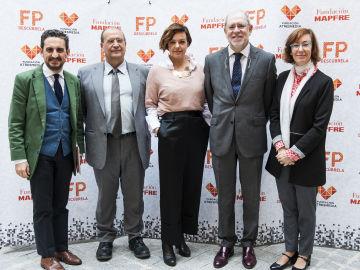 Daniel Restrepo (Fundación MAPFRE), Enrique Maestu (CICAE), Cristina Villanueva (laSexta), Julio Domingo (Fundación MAPFRE) y Carmen Bieger (Fundación ATRESMEDIA)